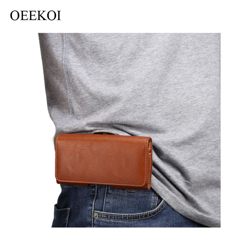 OEEKOI Belt Clip PU Leather Waist Holder Flip Cover Pouch <font><b>Case</b></font> <font><b>for</b></font> <font><b>DEXP</b></font> <font><b>Ixion</b></font> <font><b>ML150</b></font> Amper M/EL350 Volt/MS350 Rock Plus 5 Inch image