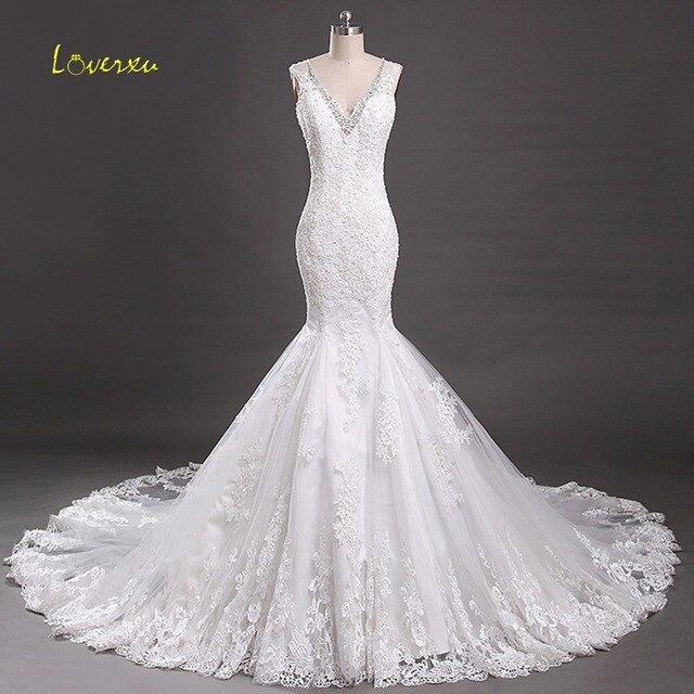 Loverxu Elegant V Neck Beading Sequined Mermaid Wedding Dress 2017 Gorgeous Appliques Court Train Vintage