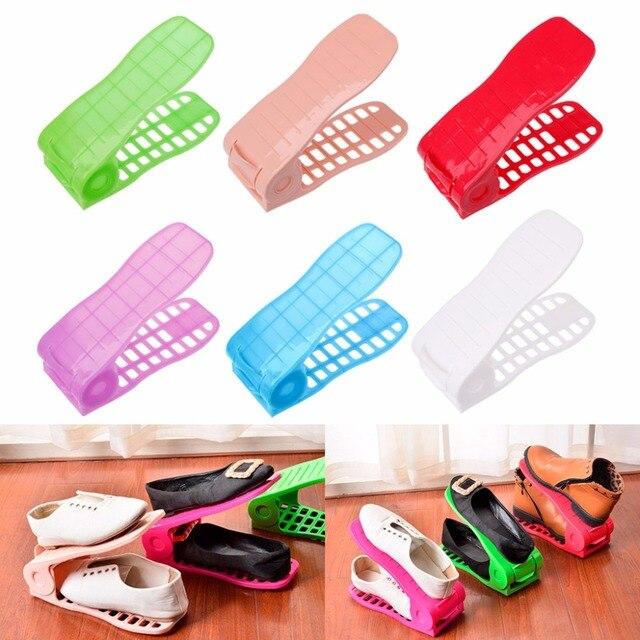 2 Pçs/set Bonito Sapatos Casa Base Space Saver Ajustável Sapatos Dupla Camada Rack De Armazenamento Prateleira