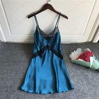 Plus size sleepwear silk sleeping dress lace Nightdress sexy lingerie women chemise plus size nightgown woman solid nightwear