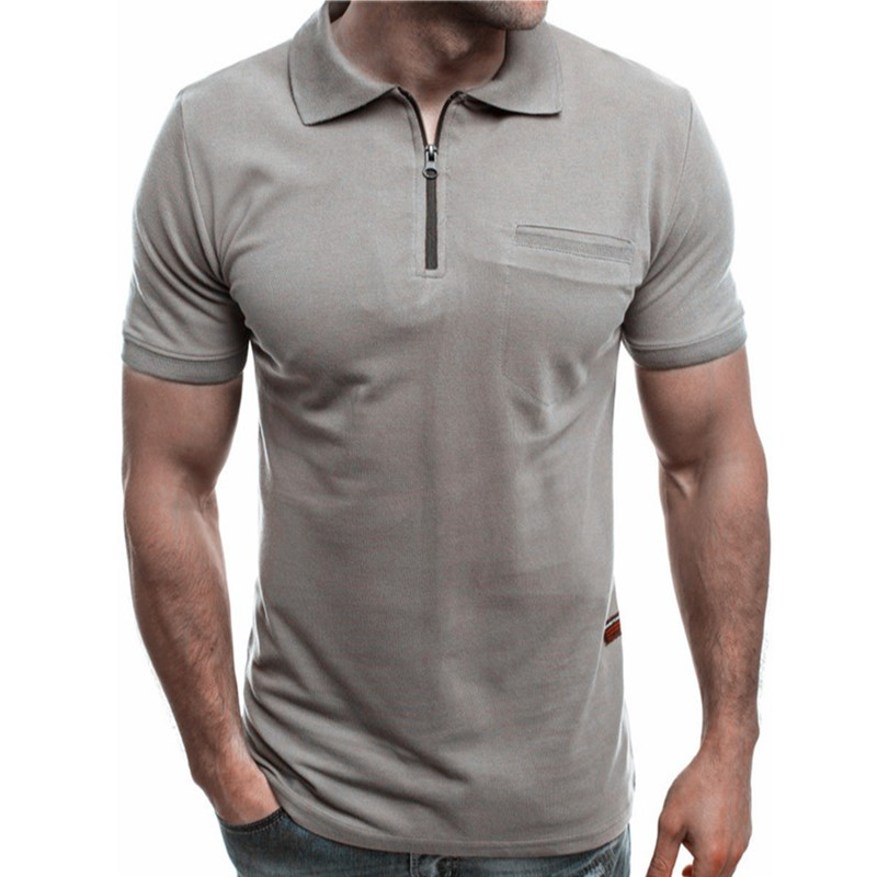 2019 New Fashion Summer Men's   T     Shirt   Solid Zipper Turn-down Collar Casual   T     Shirt   Men Modis Sportswear
