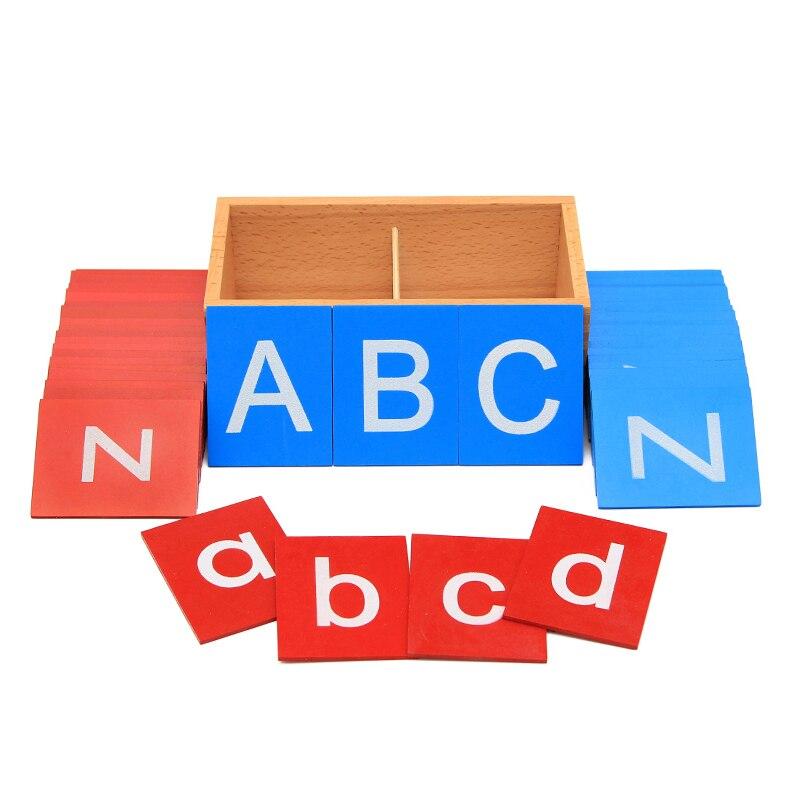 Jouets éducatifs en bois Montessori enfants bébé jouets haute qualité majuscule papier de verre lettres boîtes garçon fille cadeau