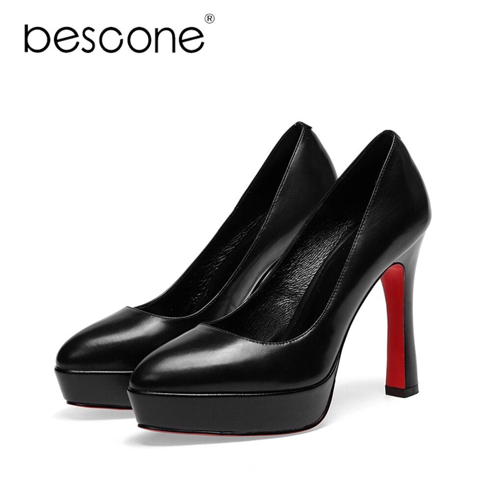 Zapatos Genuino Tacón A02 De Cuero Calidad Con Boda Mujer Plataforma Caliente Bescone Alta Alto Venta Super Black 2018 Sexy Fiesta Madura 0HTn1xtF