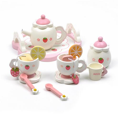 Candice guo Hot sale white sweet strawberry simulational Tea Set play house wooden toy wood Teapot Teacup kid birthday gift 1set 35