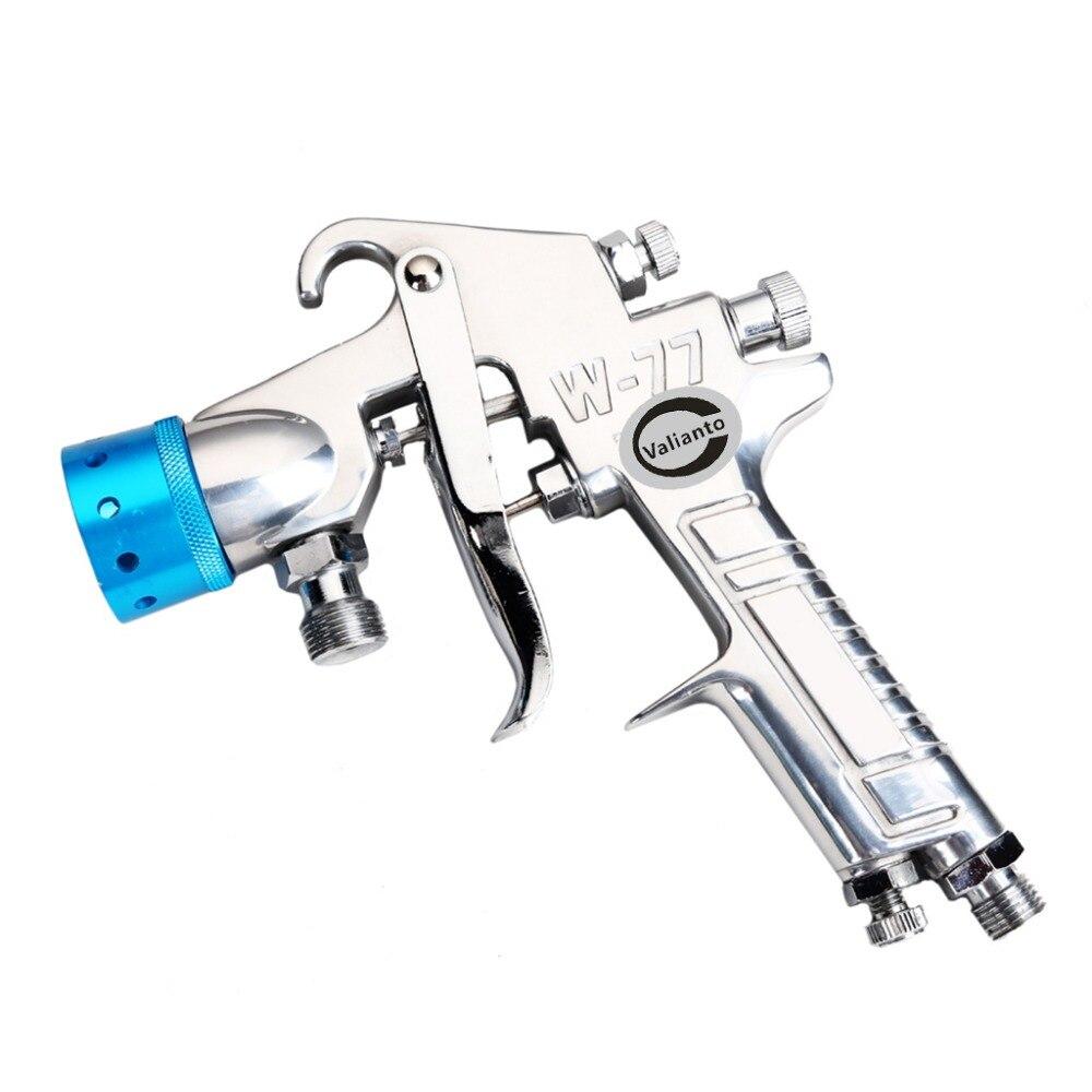 цена на W-77 Spray Gun Pressure Feed Pneumatic Spray Gun Air Painting Tool Sprayer Nozzle Blue/Orange/Silver