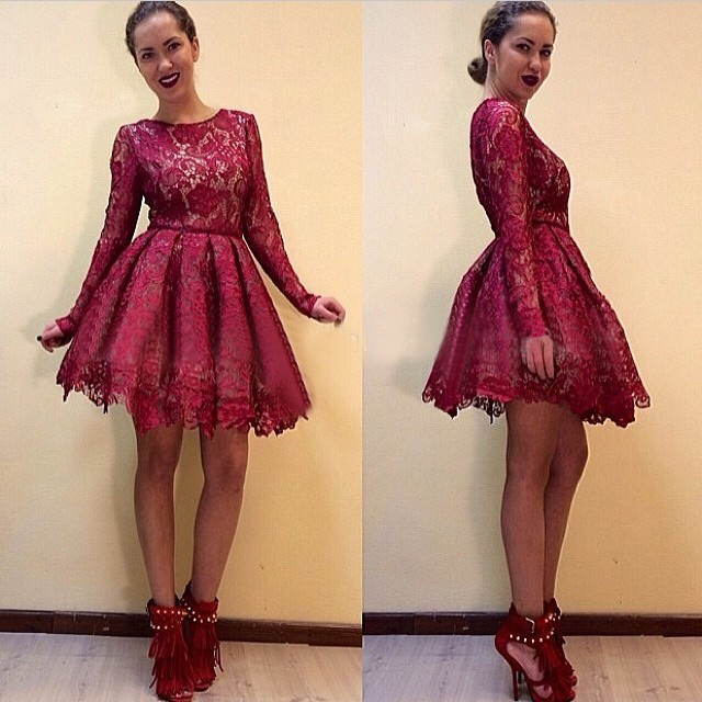 79ac33cac6 Burgundy Red Lace Prom Dresses Scoop Long Sleeves A Line Knee Length Formal  Prom Dress For Party Custom Made