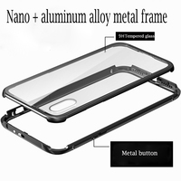 For Apple Iphone 8 Case Luxury Tempered Backplane Metal Aluminum Hybrid Shockproof Phone Cover For Iphone8