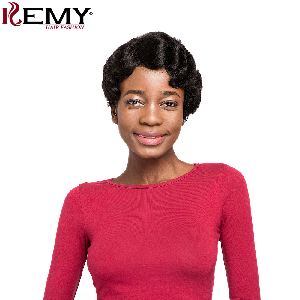 KEMY HAIR FASHION Short Human Hair Wigs With Baby Hair Bang Non Remy&Lace Daily Full Brazilian Hair Wavy Wigs For Women