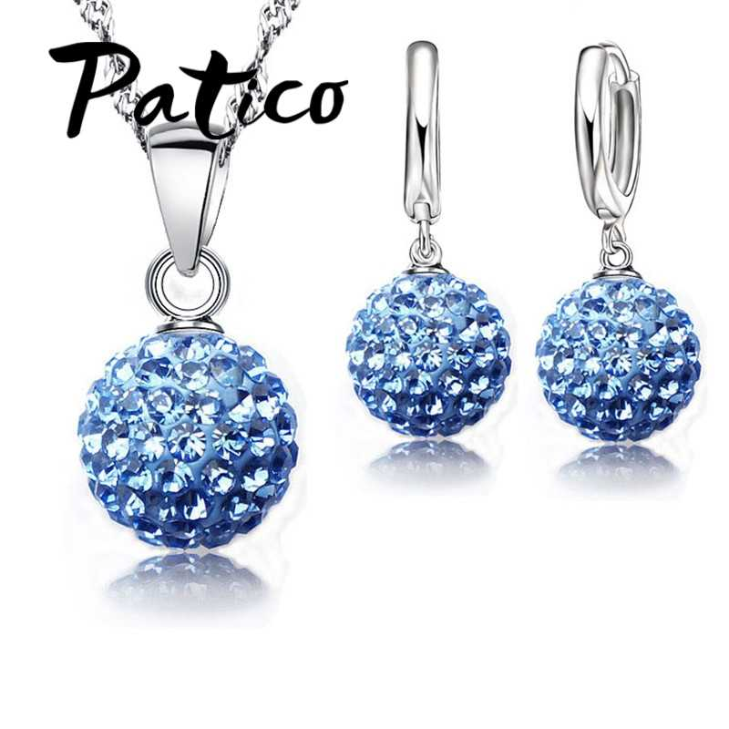 PATICO Hot New Jewelry Sets S90 Silver Color Austrian Crystal Pave Disco Ball Lever Back Earring Pendant Necklace Woman