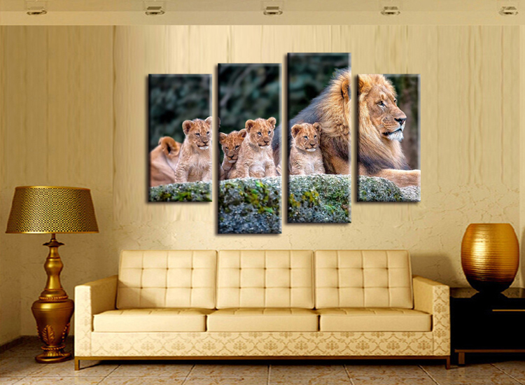 4 pieces / set Animal Painting Lion King Posters Wall Art and Prints ...