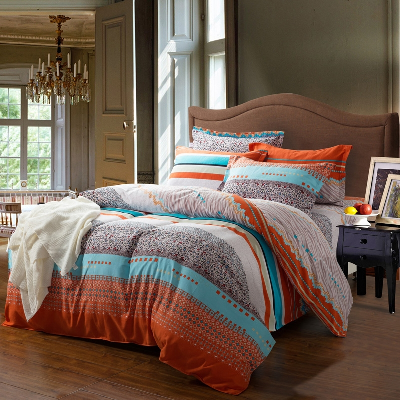 Aqua Blue Orange And White Contemporary Cute Style