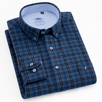 Men's Brushed Plaid Checkered Button Down Shirt Patch Chest Pocket Long Sleeve Regular fit Comfortable 100% Cotton Thick Shirts