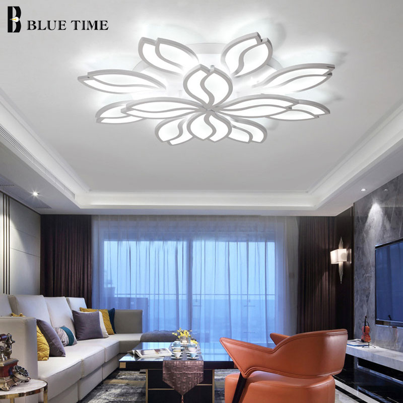 Large White Acrylic Modern Led Ceiling Lights For Living Room Bedroom Plafon Home Lighting Ceiling Lamp Indoor Lighting Fixtures led white ceiling lighting indoor bedroom ceiling lamps fixtures home modern american country style living room ceiling lights