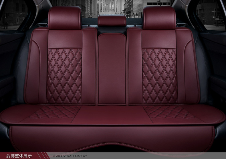 Leather Car Seats >> Luxury Red Black Waterproof Firm Diamond Pu Leather Car Seat Covers