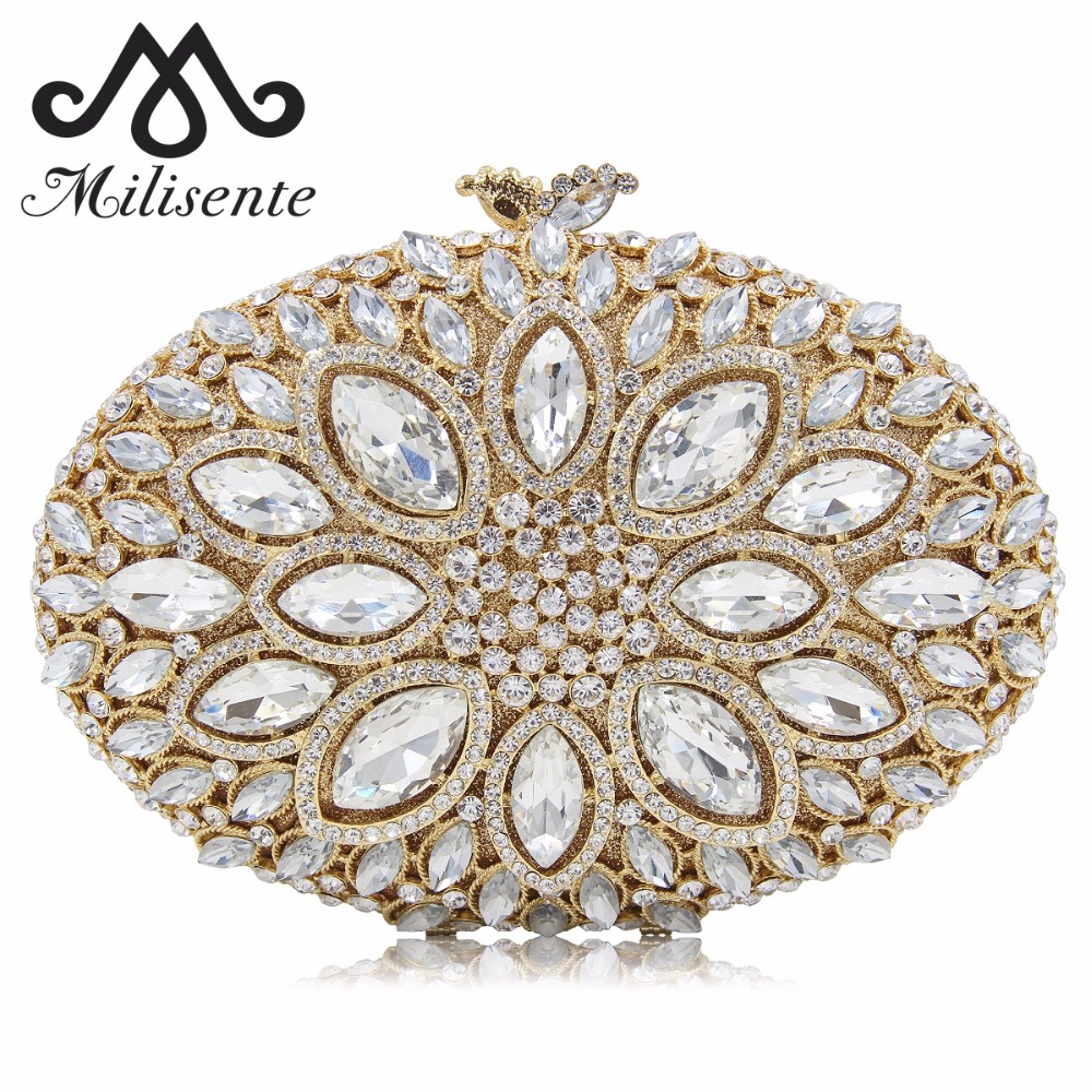 Milisente Women Crystal Stones Evening Bags Ladies Luxury Oval Shape Party Bag Female Clutches Wedding Purses Gold Clutch colourful bird women evening luxury bags crystal clutches laides evening bag female party hard case bags wedding clutch purses