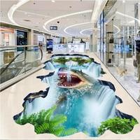 beibehang Custom large floor shark waterfall hanging mountain 3D stereo outdoor painting floor tiles painting wall paper