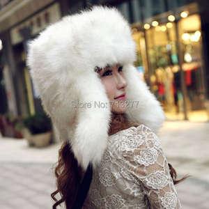 b192ad9bee3bcb Aerlxemrbrae Women Winter Earflap Russian Hat Fox Fur