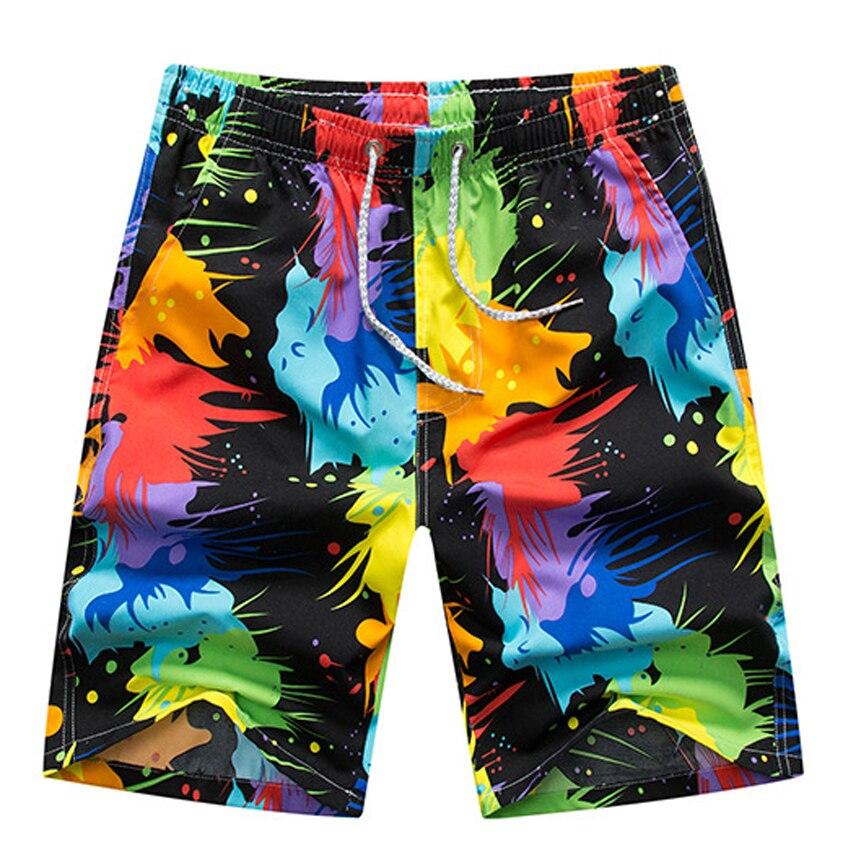 Summer Men Casual Beach Shorts New Flower Print Elastic Waist Mens Board Shorts Quick Dry Men Sweatpants Summer Male Shorts