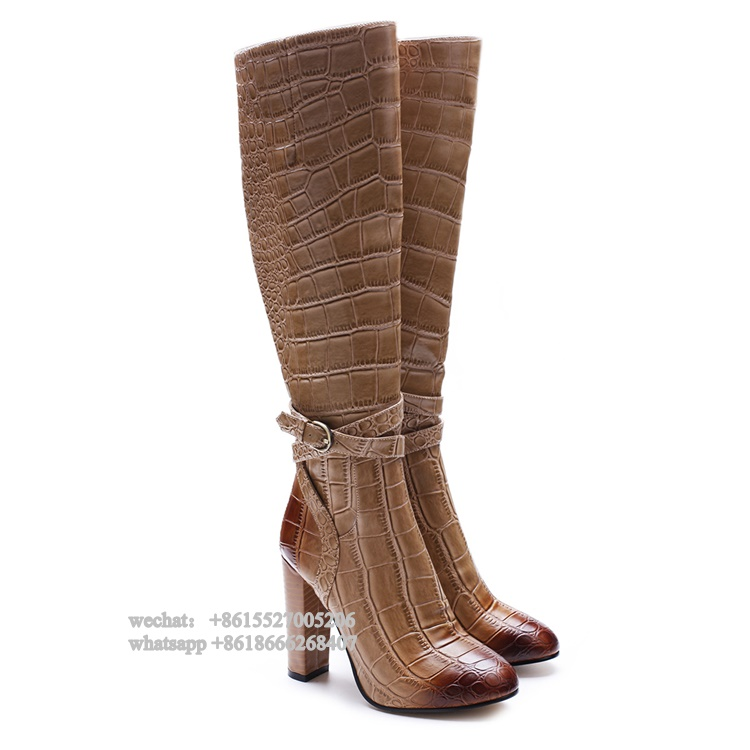 Fashion Square Heeled Brown Crocodile Pattern Leather Round Toe Ankle Wrap Straps Women Knee Boots High Heel Winter Buckle Shoes aiweiyi square high heeled shoes woman round toe buckle design autumn winter women ankle boots botas shoes women pumps shoes