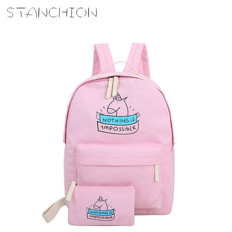 STANCHION Women Canvas Backpack Fashion Cute Travel Bags Animal Printing 2Pcs/Set New Preppy Style Teenager Girls 2pcs set preppy style canvas backpack women letter printing backpacks school bags for teenager girls schoolbag female travel bag