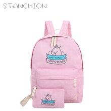 STANCHION mochila de lona para mujer moda Linda bolsas de viaje estampado Animal 2 unids/set nuevo estilo Preppy chicas adolescentes