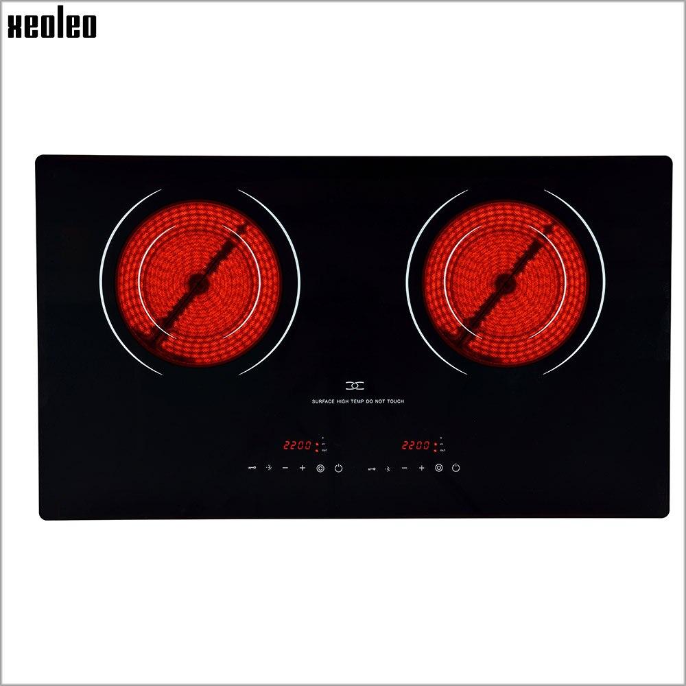 XEOLEO двойной Плита Электрический Керамика Плита 4400 Вт бытовой излучения свободной индукции Плита с замком и времени Индукционная плита