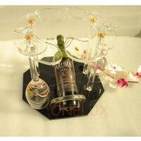 ONELUX Akrilik tek şarap şişe tutucu, Lucite 6 şarap gözlük raf-KD Paketlenmiş