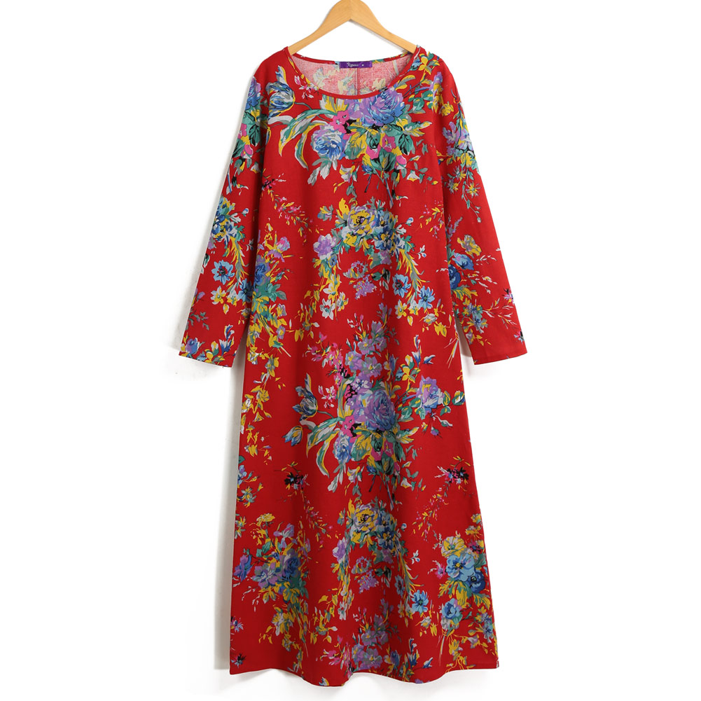 EaseHut 19 New Vintage Women Maxi Floral Dress Plus Size Long Sleeves Pockets O Neck Cotton Linen Loose Robe Dresses vestidos 10