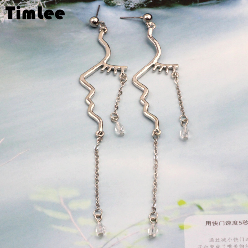 Timlee E086 free shipping Personality Exaggeration Distortion Face Outline Chain Alloy Long Drop Earrings wholesale