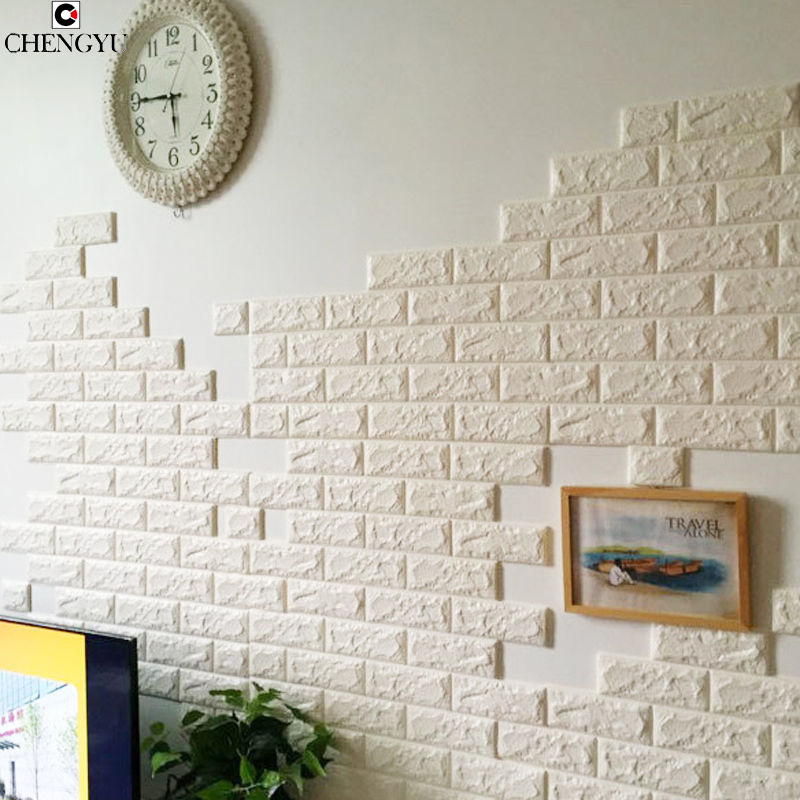 3D Elasticity Brick Grain Foam Stone Brick Self-adhesive Wallpaper DIY Wall Stickers Self-adhesion Anti-collision Panels Decal