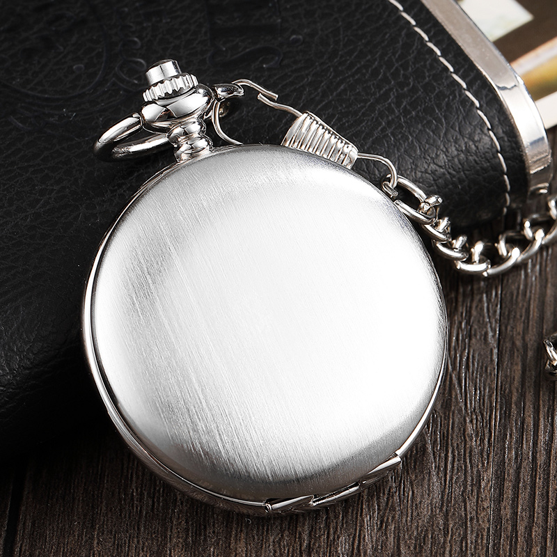 Luxury Silver Smooth Dial Mechanical Pocket Watch Men Roman Numerals Watch With Chain Skeleton Luxury Retro Hand Wind FOB Watch