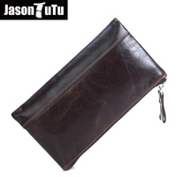 Brand Genuine Leather wallets Male wallet hand bag dollar money Bag Two zipper Cowhide purse Large capacity card pack FB4057