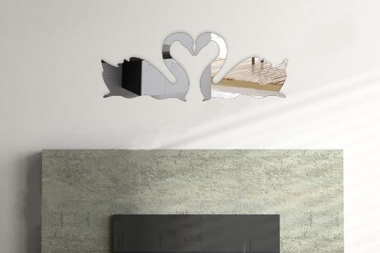 Swan Love Beauty Home Decoration 3d Mirror Sticks For Livingroom