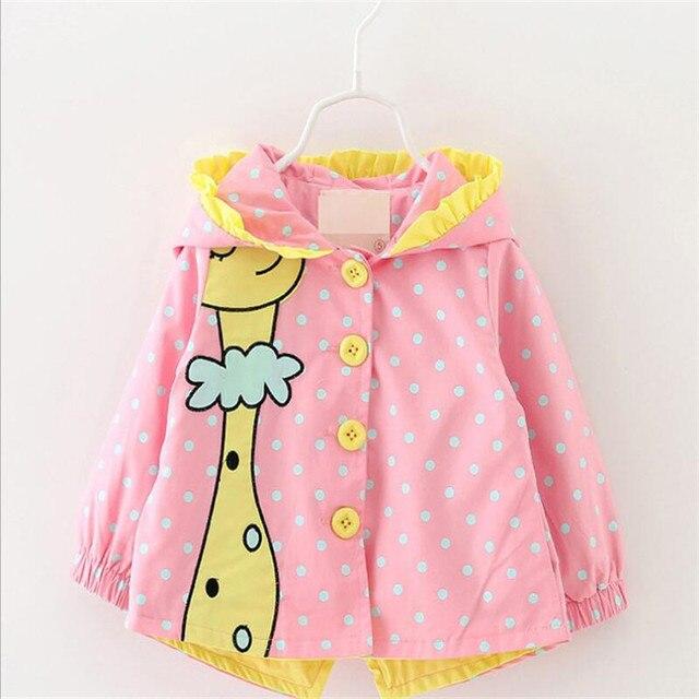 2016 мода мультфильм животных шаблон девочка пальто мода горошек с капюшоном младенческой малыша куртки осень новый стиль