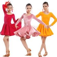 New winter Adult Child Latin dance costume senior velvet long sleeves latin dance dress for child latin dance dresses S-4XL