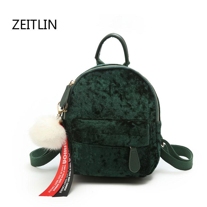 Korean Mini Velvet Backpack Bag Female Cute Backpacks High Quality Back Pack For Girls Gift Womens Small Backpack T1511