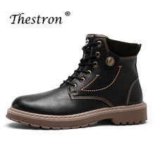 2018 Thestron Fashion Male Boots Leather Brand Men Shoes Winter Snow Warm Army Military Split Tactical