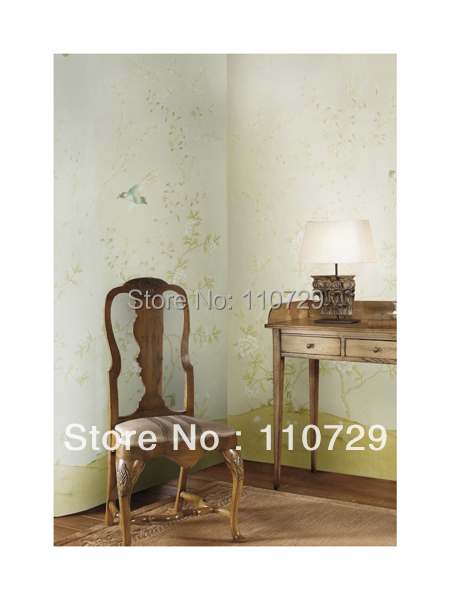 hand painted silk wallpaper painting flowers with birds silk wallcover sticker many pictures optional