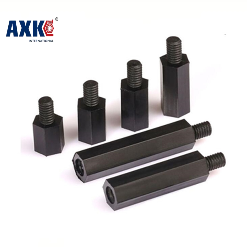 AXK 50Pcs M3 thread+6mm Hex Black Nylon Standoff Spacer Female to female Column Flat Head Double Pass Plastic Spacing Screws M3