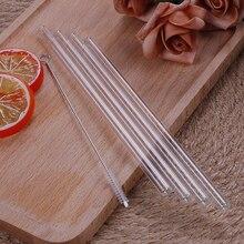 4 шт. прямая стеклянная трубка, многоразовая Питьевая соломенная присоска с чистящей щеткой, партия поддерживает поставки