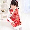 Детские стеганые куртки для девочек; Qipao; платье без рукавов для девочек; Tang; зимний жилет