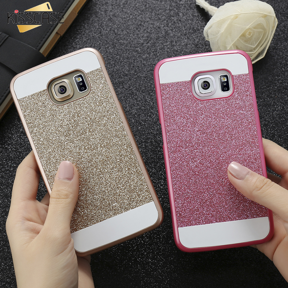 online store 5afa1 49ceb US $2.92 34% OFF|KISSCASE Bling Hard PC Cover For Samsung Galaxy S6 G9200 /  S6 Edge G9250 Glitter Case For Samsung S6 Edge Girly Pink Cases-in Fitted  ...