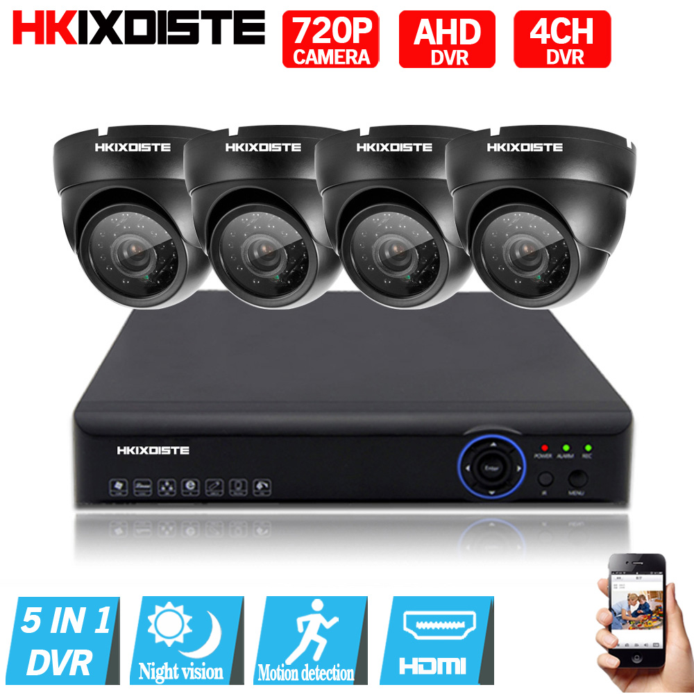 4CH 1080P AHD DVR CCTV System Set 4pcs AHD 720P Camera  Indoor 1.0MP Security Video Surveillance Kit 4CH CCTV Video Surveillance футболка fallen verte black gold