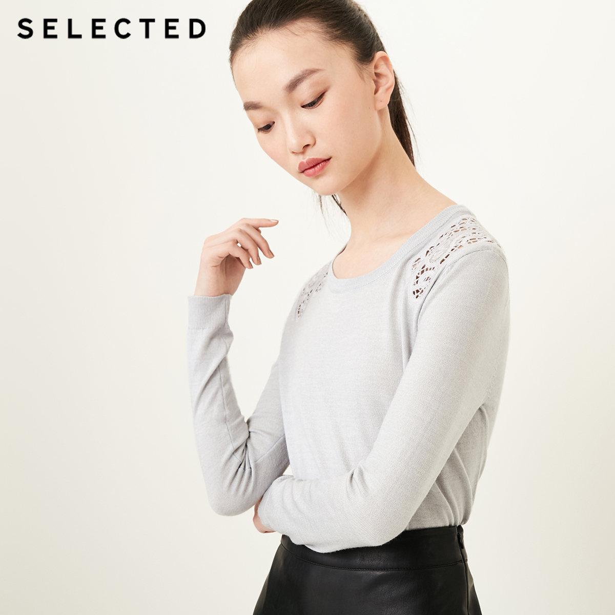 SELECTED  includes wool knitted flowers, leisure knitted sweater, sweater S418124501-in Pullovers from Women's Clothing    1