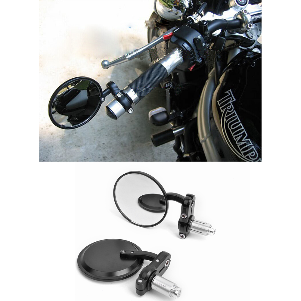 цена на MOTORCYCLE 7/8 HANDLE BAR END SIDE REARVIEW REAR MIRRORS CAFE RACER BOBBER CLUBMAN 3 ROUND retroviseur moto motorcycle mirror