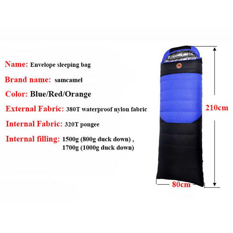 1.5 kg/1.7 kg ultraleve envelope saco de dormir acampamento ao ar livre pato para baixo outono saco de dormir confortavelmente 210*80cm