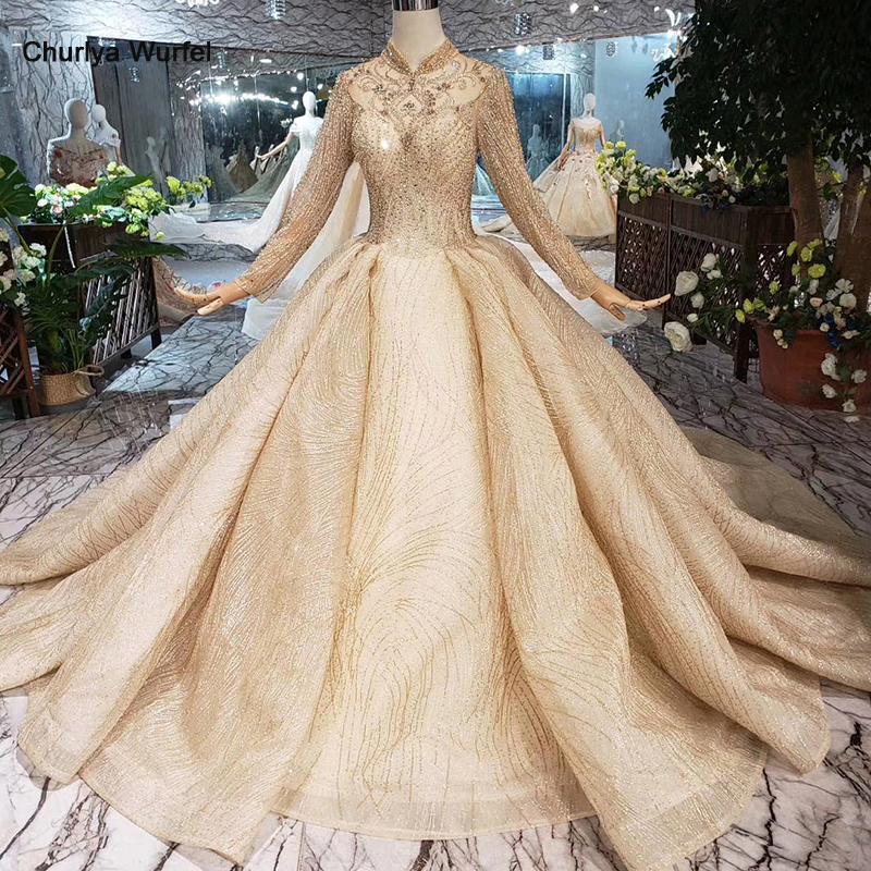LS20329 Golden Muslim Wedding Dresses High Neck Long Sleeves Beads Shiny Bridal Dress Wedding Gown With Train 2019 New Fashion