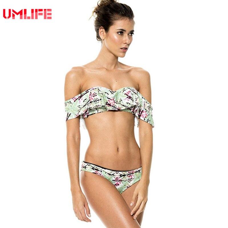 umlife al largo della spalla costume da bagno da donna stampa tropicale bikini sexy set reggiseno