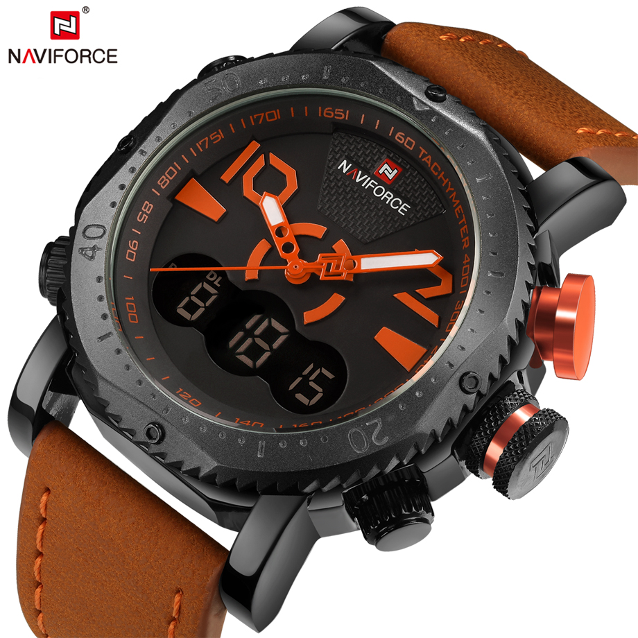 NAVIFORCE Brand Multifunction Mens Quartz Watch Leather Sport Watches Men Army Military Male Clock Waterproof Relogio Masculino army military men sport watch relogio masculino valia brand leather waterproof date day hours quartz clock mens watches