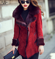 Winter Natural Lamb Fur Coat Double-faced Fur The Coat Women Genuine Sheep Leather Jacket Real Fox Fur Collar 161011-13